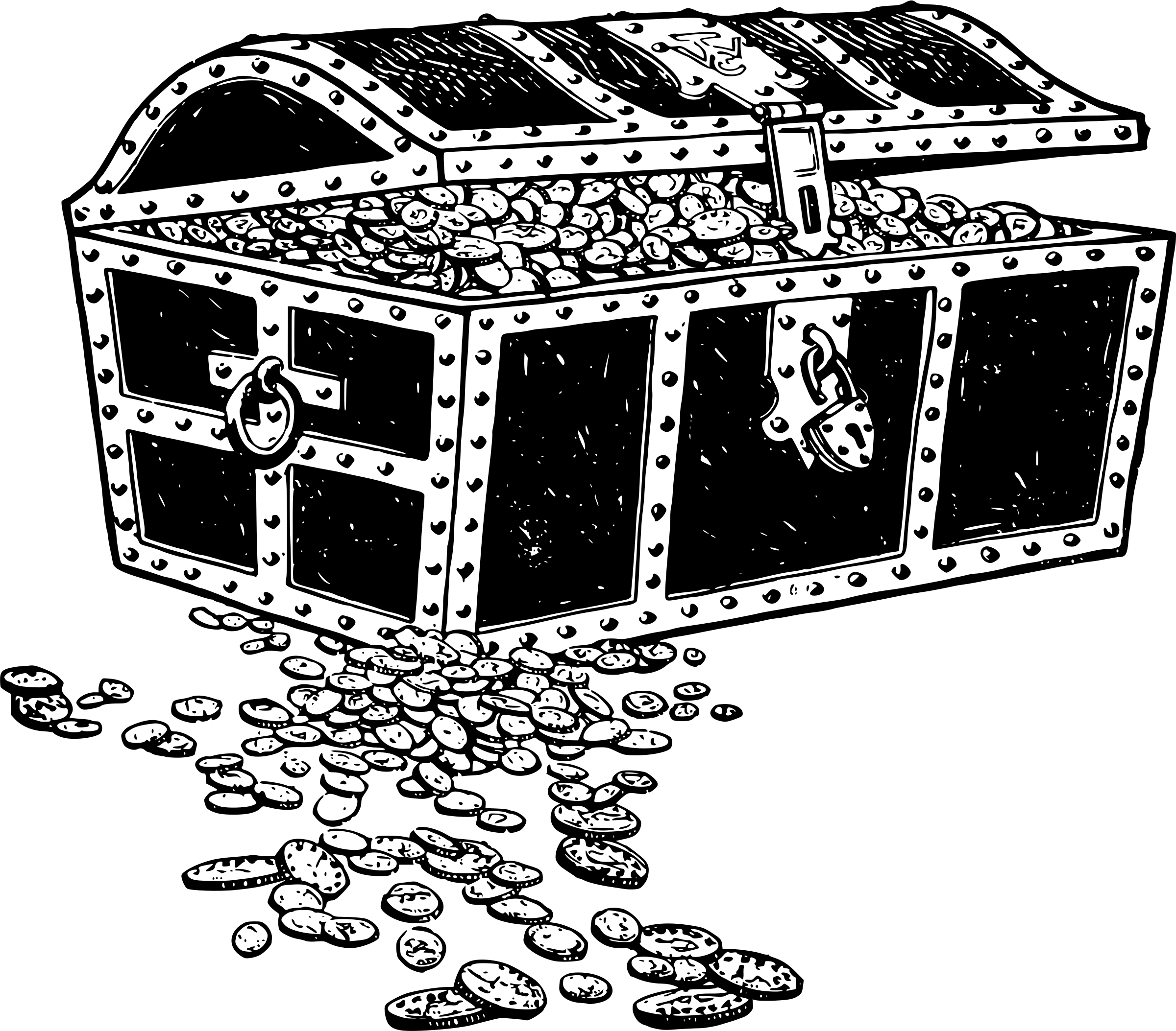 Treasure Chest Black and White Clipart transparent PNG.