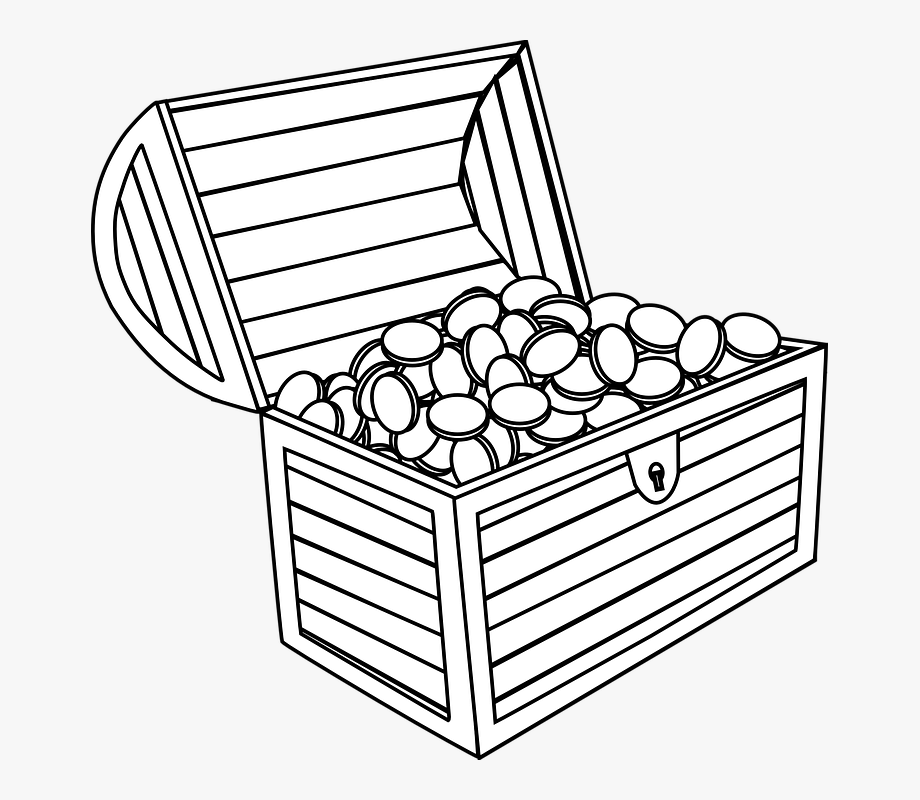 Treasure Chest Black And White Clipart.