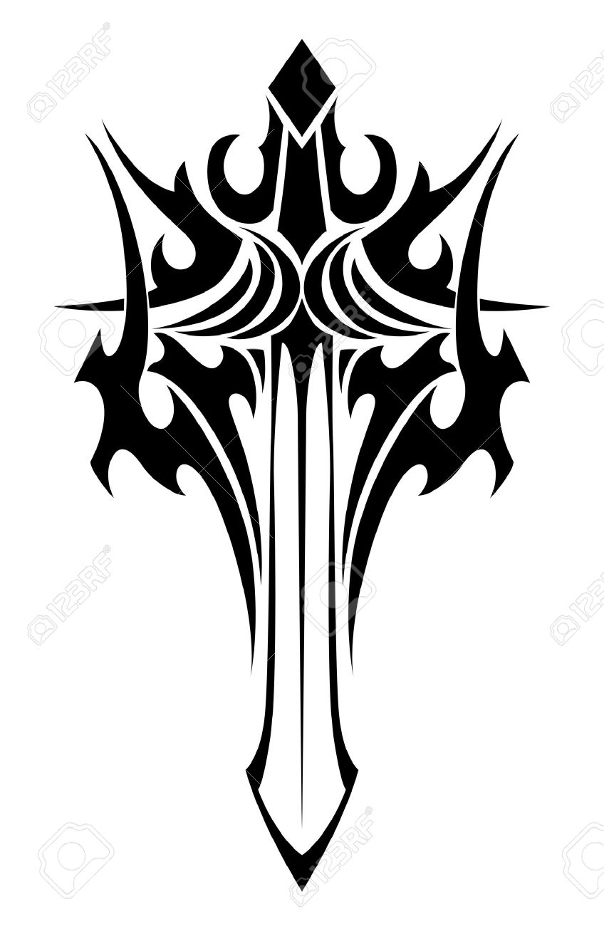 Black and white tribal illustration of an ornate winged sword...