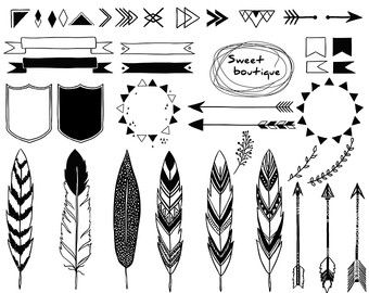 Tribal Clipart Arrows Clip Art Tribal Papers by StudioDesset.