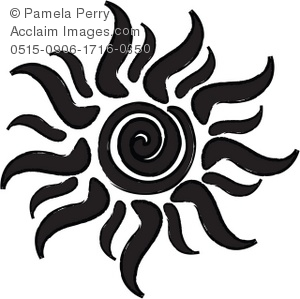 Clip Art Illustration of a Black and White Tribal Style Sun.