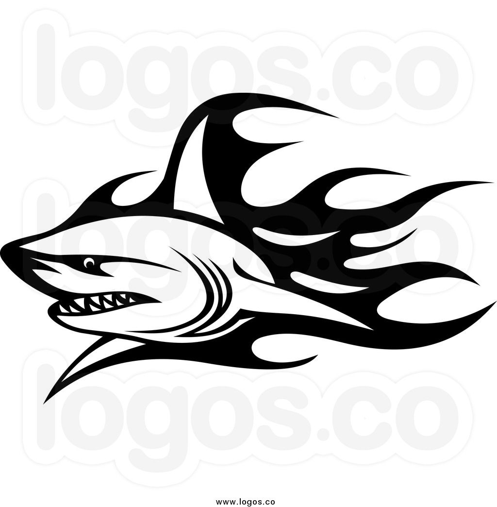 Royalty Free Clip Art Vector Logo of a Black and White Tribal.