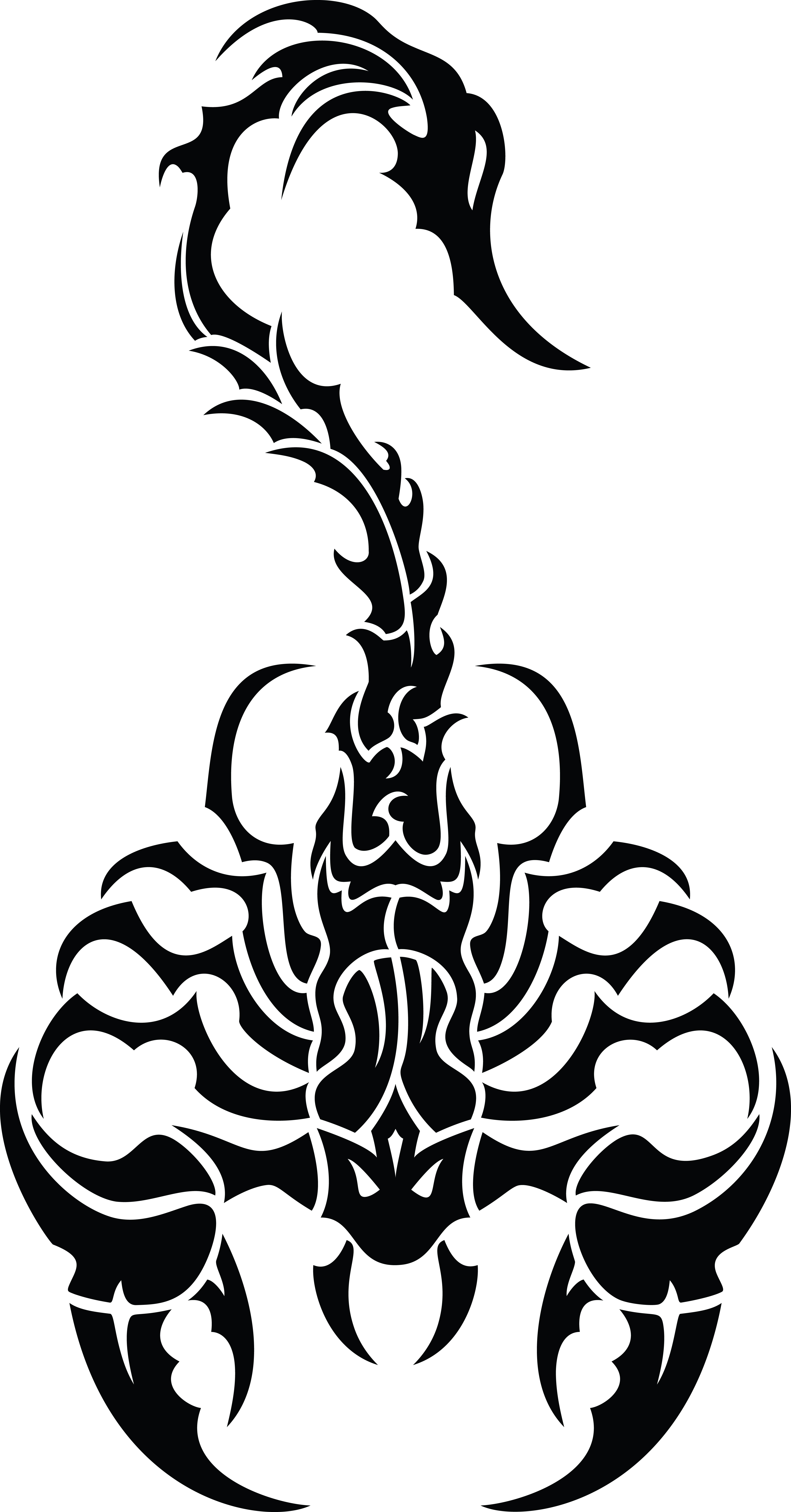 Free Clipart of a black and white tribal scorpion.