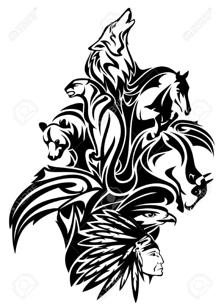 Native American chief with animal spirits design.