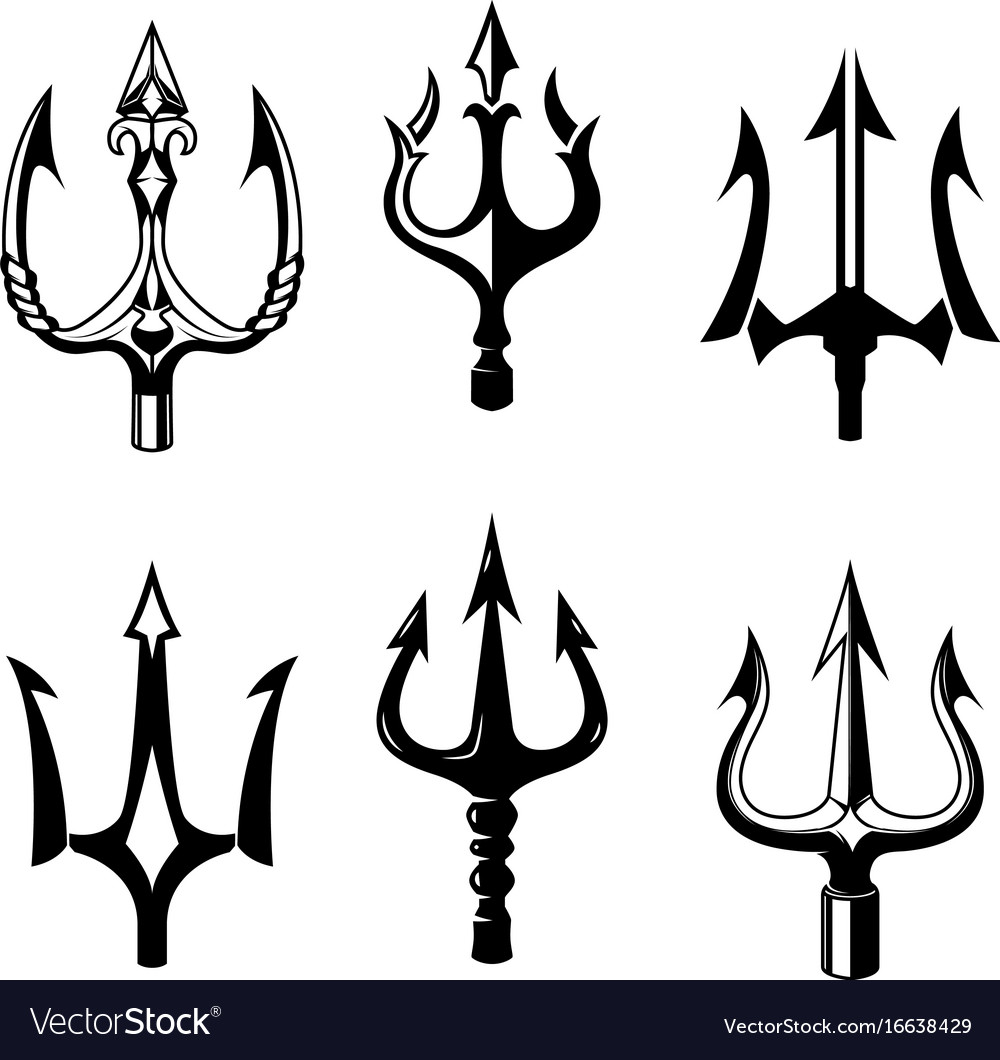 Set of trident icons isolated on white background.