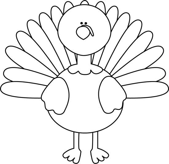 Turkey Clipart Outline Black And White.