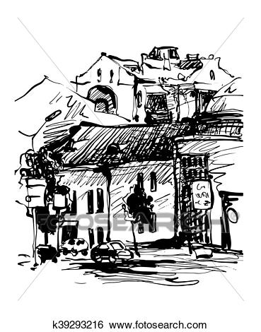Original black and white digital sketch of Kyiv, Ukraine.