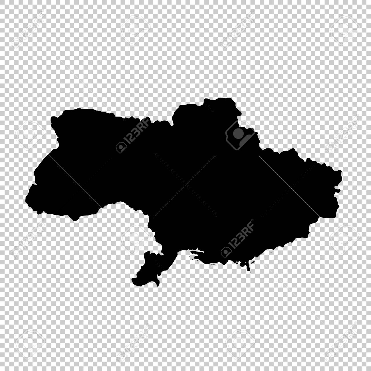 Vector map Ukraine. Isolated vector Illustration. Black on White...