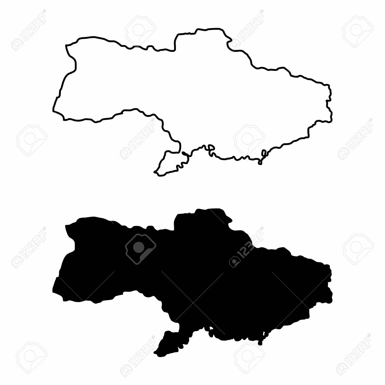 Simplified maps of Ukraine. Black and white outlines..