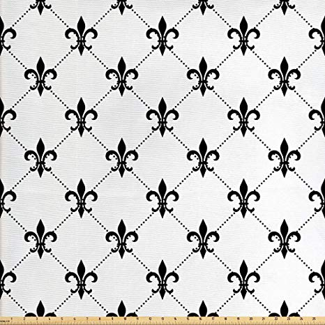 Ambesonne Fleur De Lis Fabric The Yard, Checkered Dotted Pattern Monochrome  Abstract Lily Flower Ancient Revival, Decorative Fabric Upholstery Home.