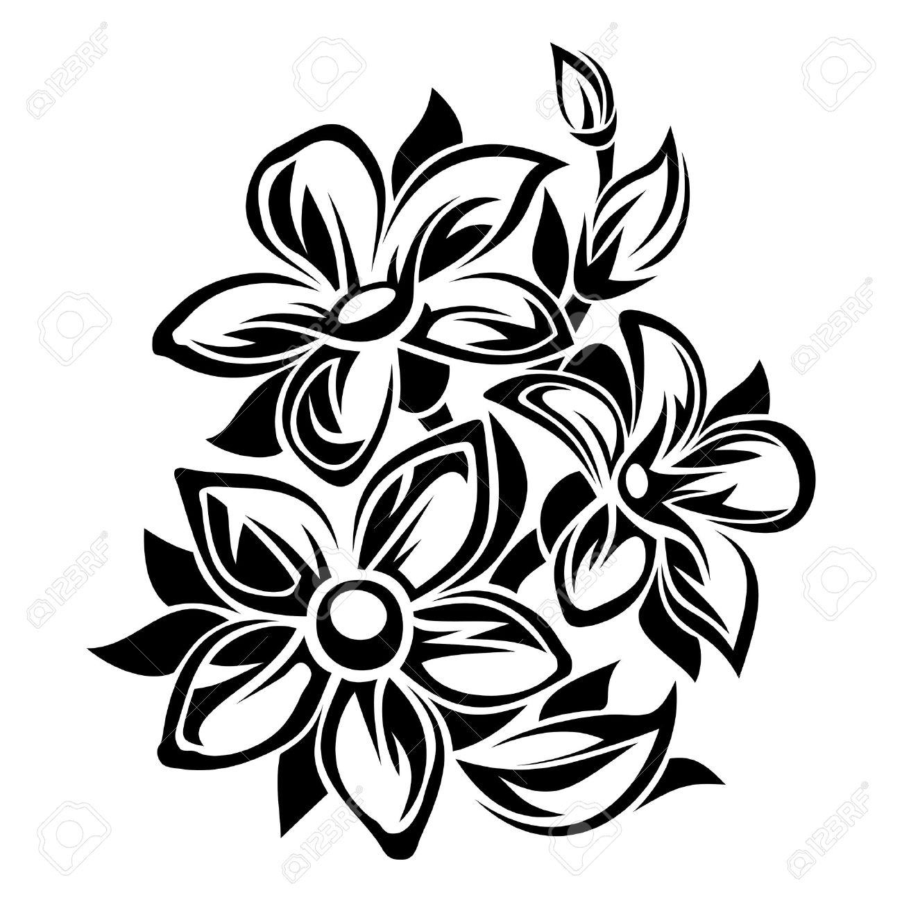 Flowers black and white ornament. Vector illustration..