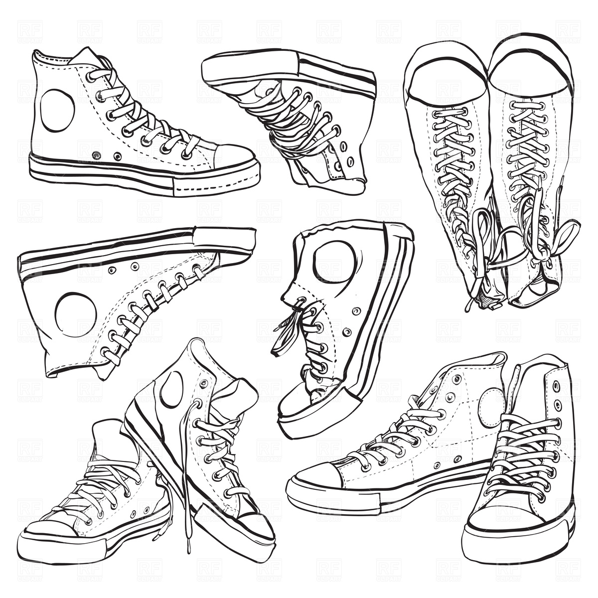 Black and white sneakers set Stock Vector Image.