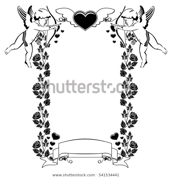 Black White Valentine Frame Cupid Hearts Stock Vector (Royalty Free.