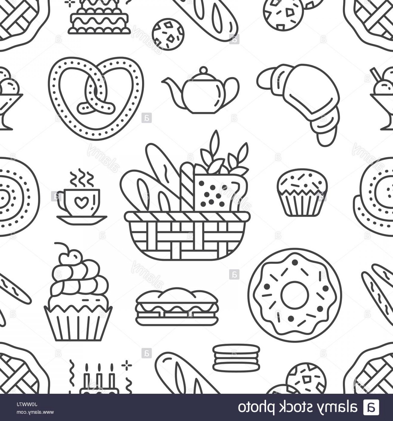 Stock Photo Bakery Seamless Pattern Food Vector Background Of Black.
