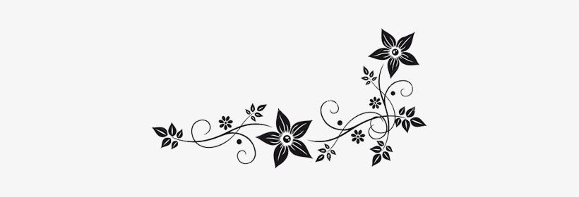 Vector Graphics Flower Border Black White Clip Art.