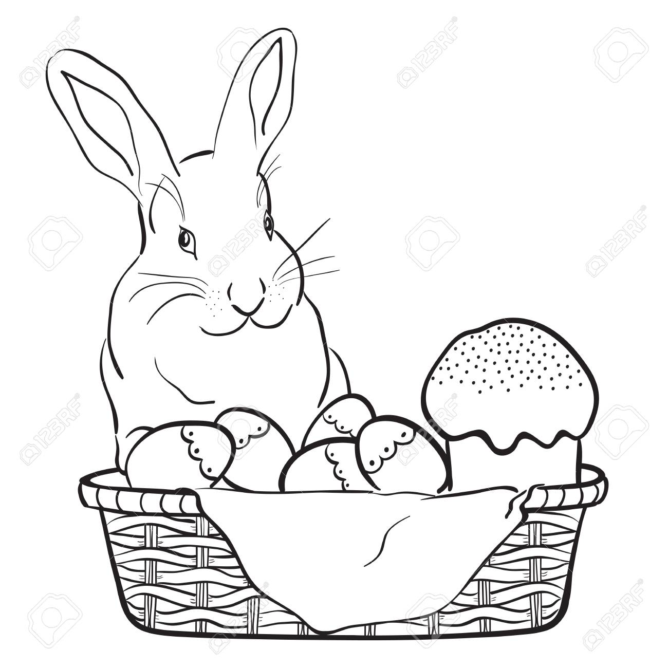 Easter rabbit, basket, eggs and cake.Black and white vector illustration..