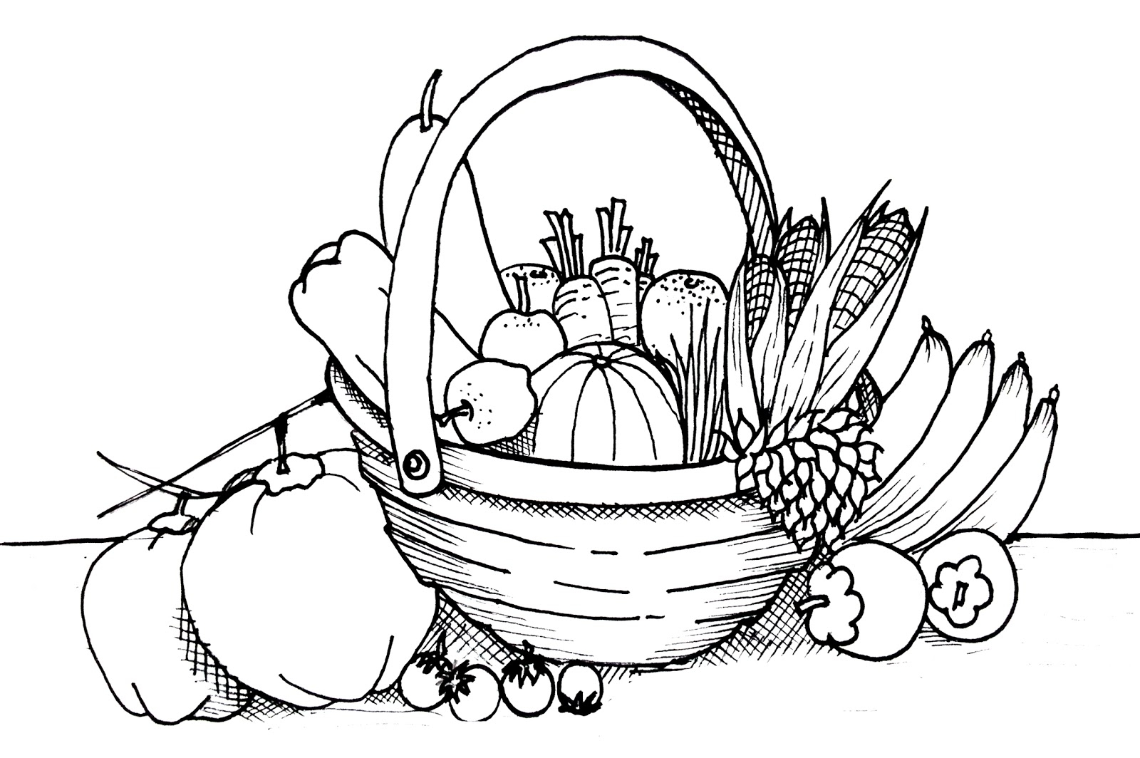 Free Fruits And Vegetables Clipart Black And White, Download.