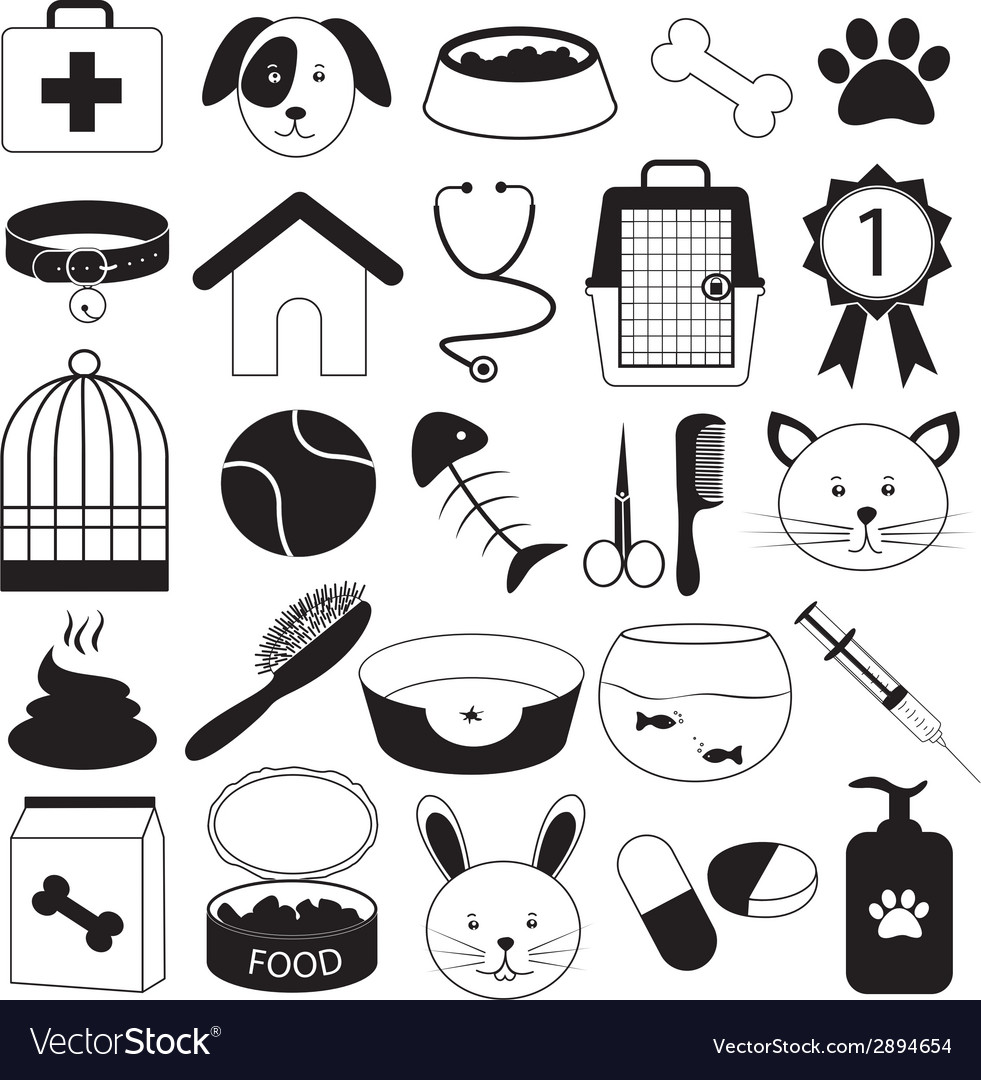 Veterinary Clinic and Pet Icons Set.