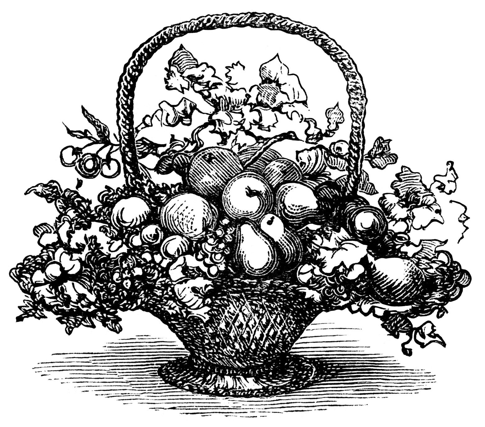 basket of fruit clip art, black and white clipart, vintage.