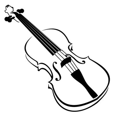 Line Art Blak and White Violin Clipart Picture Free Download.