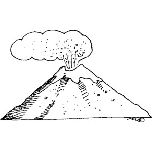 Black And White Clipart Volcano.
