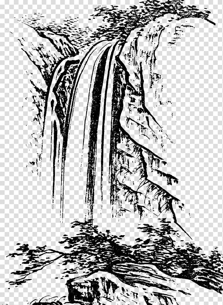 Waterfalls , u4e2du56fdu767du63cf Shan shui Landscape.