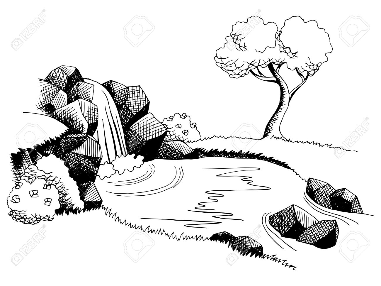 591 Waterfall free clipart.