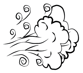 Windy weather clipart black and white 5.