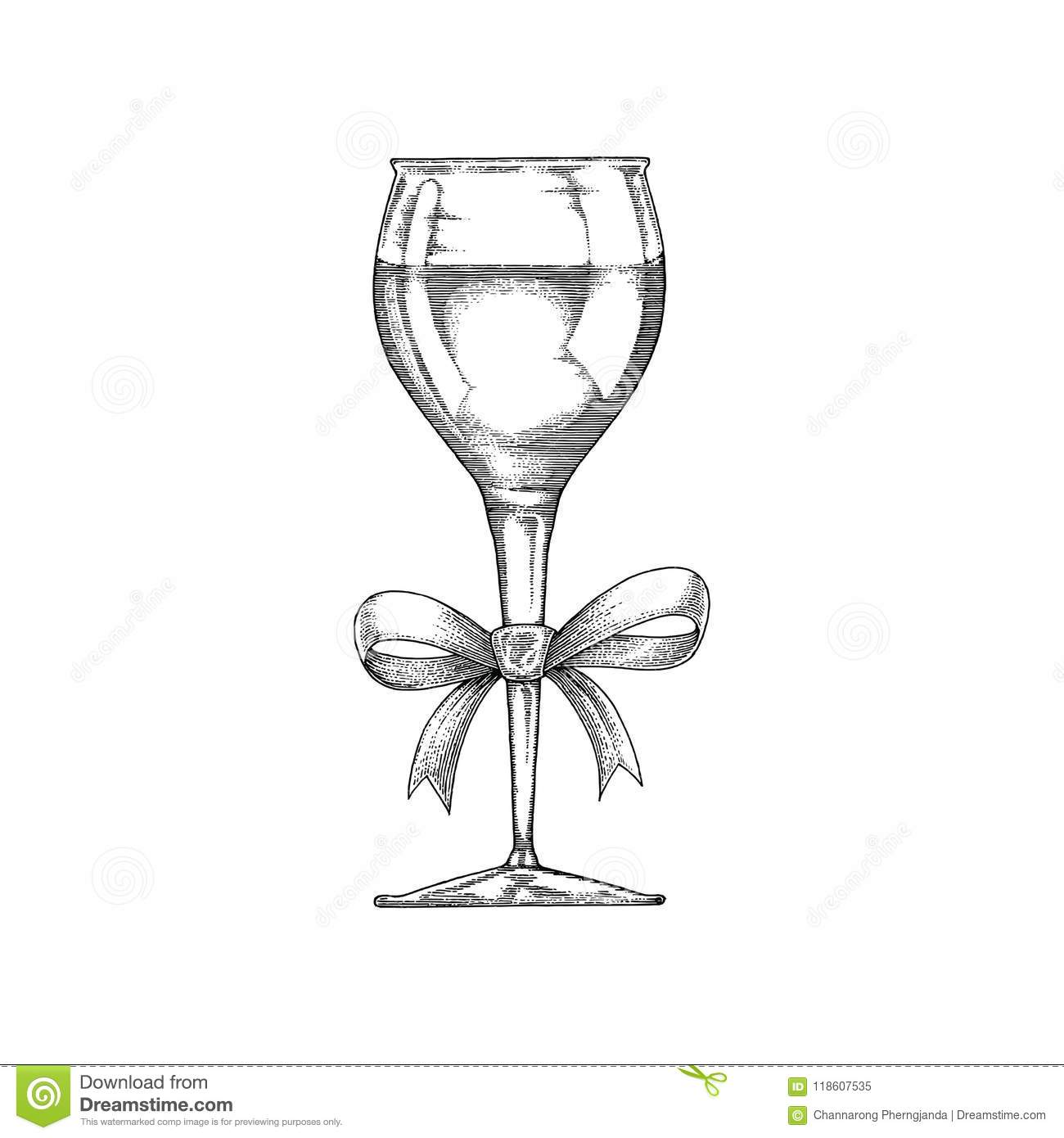 Wine Glass Hand Drawing Vintage With Ribbon Black And White Line.
