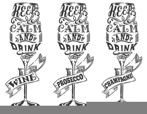 Black And White Wine Glass Clipart.