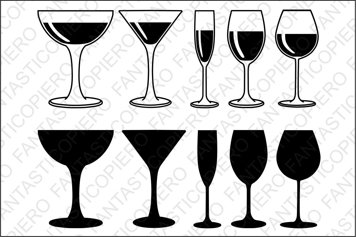 Red, white wine Glasses SVG files for Silhouette and Cricut..