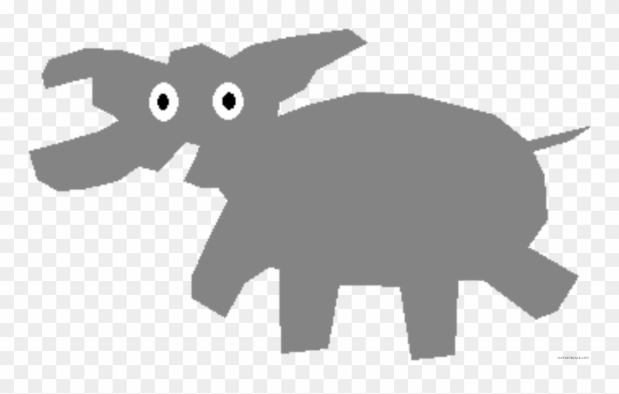 Wonderful Elephant Animal Free Black White Clipart.