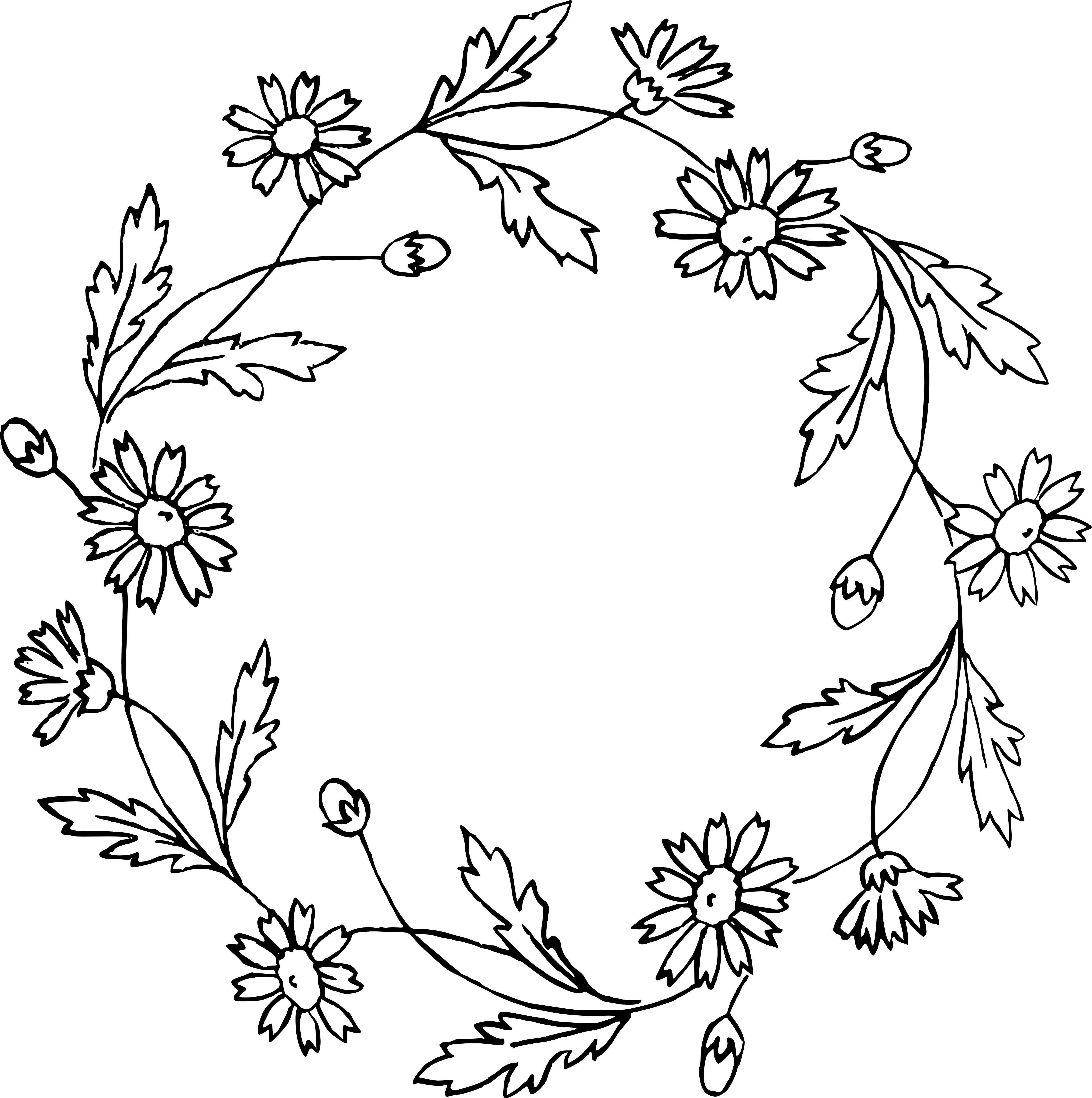 Vintage Flower Clipart Wreath Black And White.
