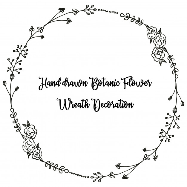 Hand drawn floral black and white wreath clipart Vector.