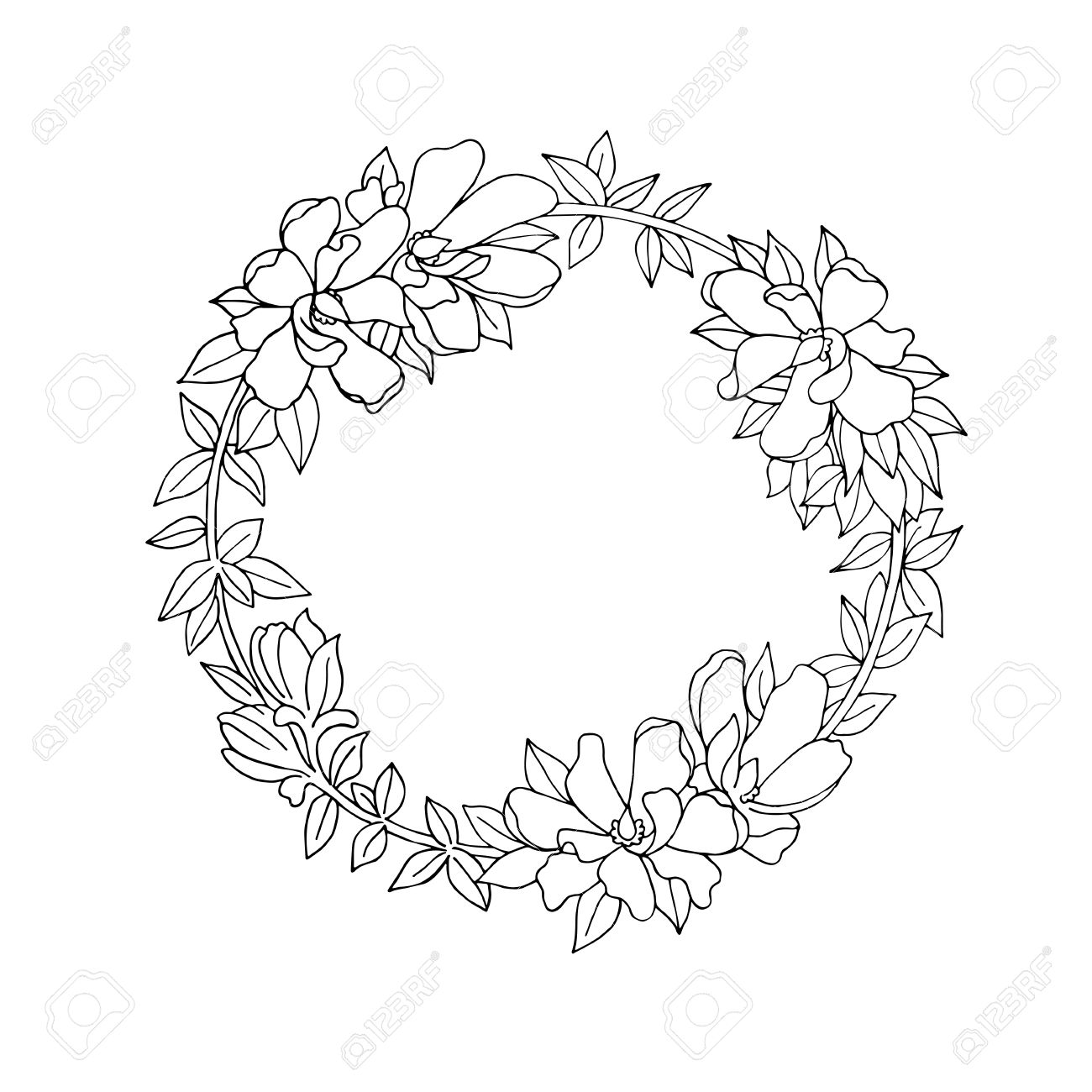 Black and white vintage detailed flower wreath.