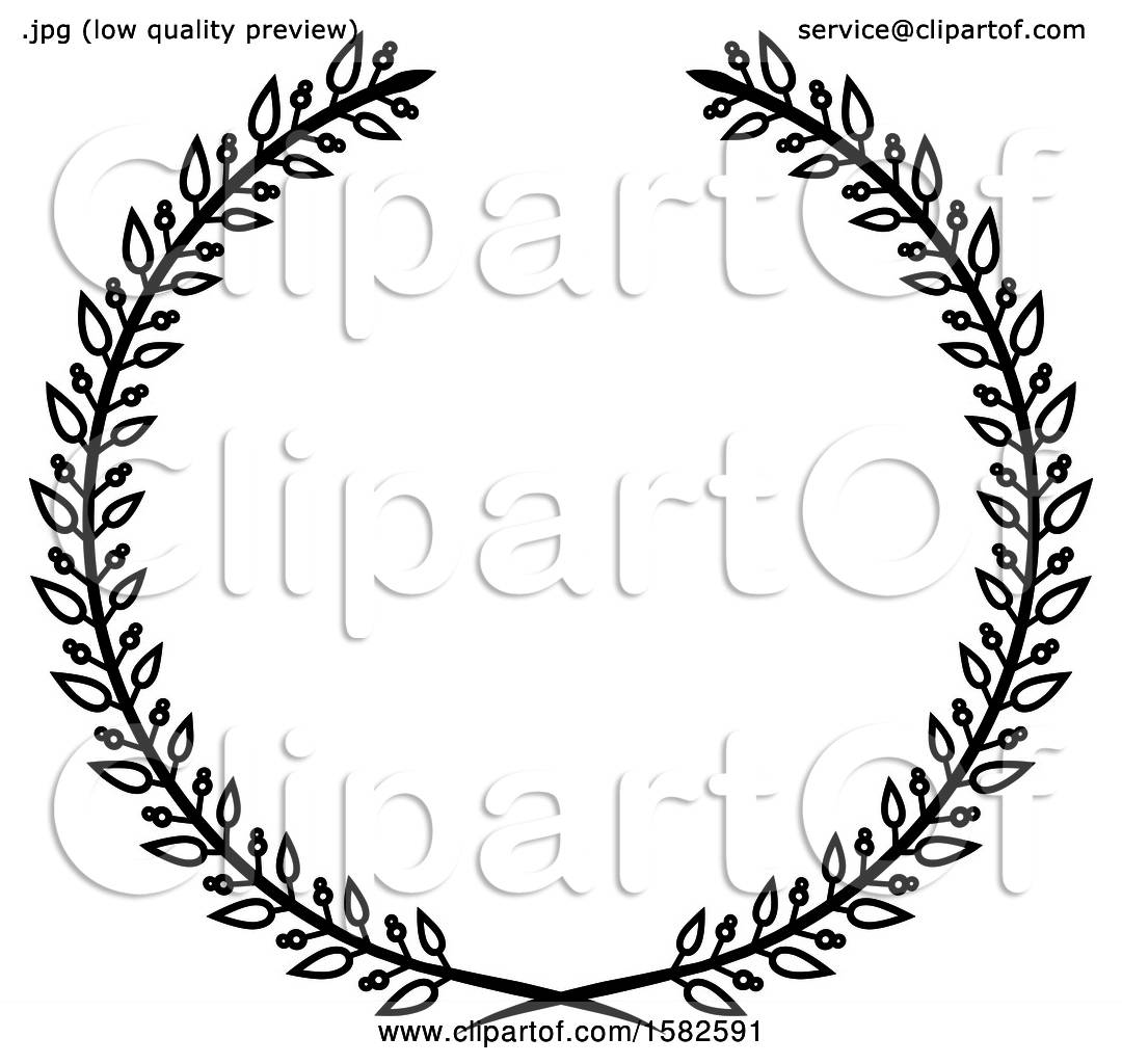 Clipart of a Black and White Wreath.