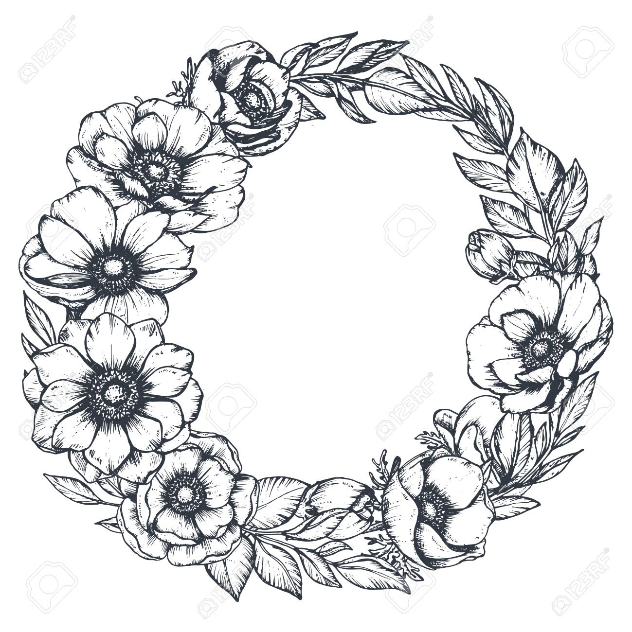 Vector black and white floral wreath of hand drawn anemone flowers.