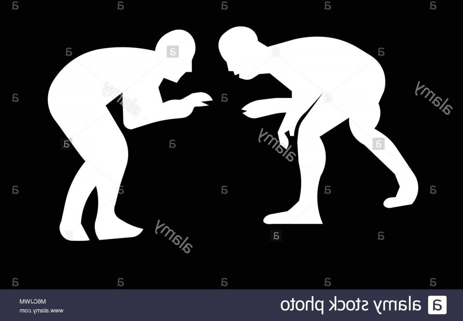 Stock Photo White Wrestling Silhouette Clip Art On Black Background.