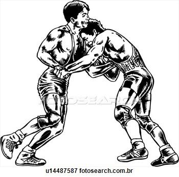 Wrestling Clip Art Black White.