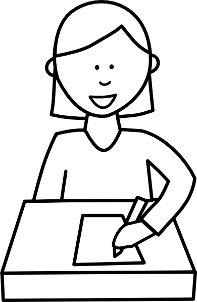 Writing black and white writer clipart.