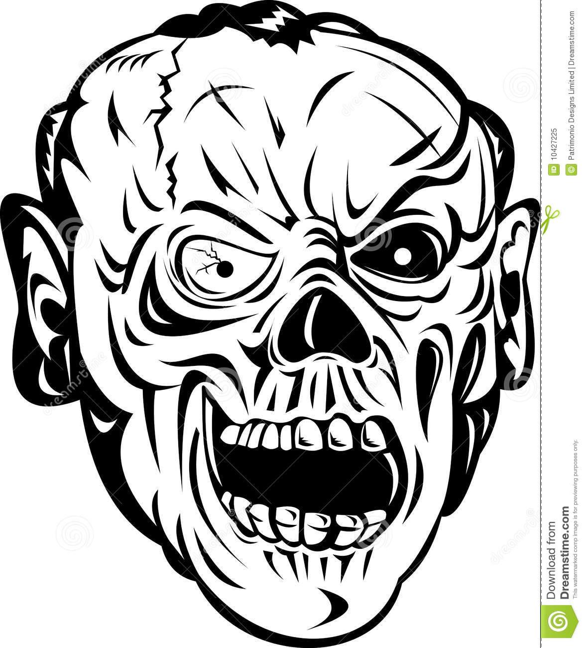 Zombie skull bone face stock vector. Illustration of black.