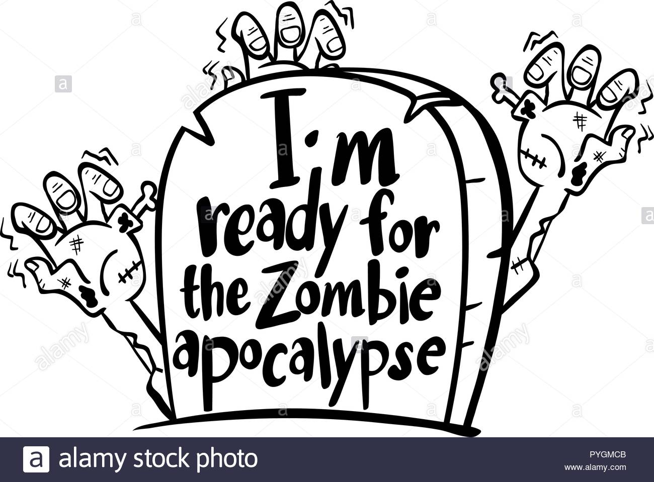 Clip Art Zombie Black and White Stock Photos & Images.