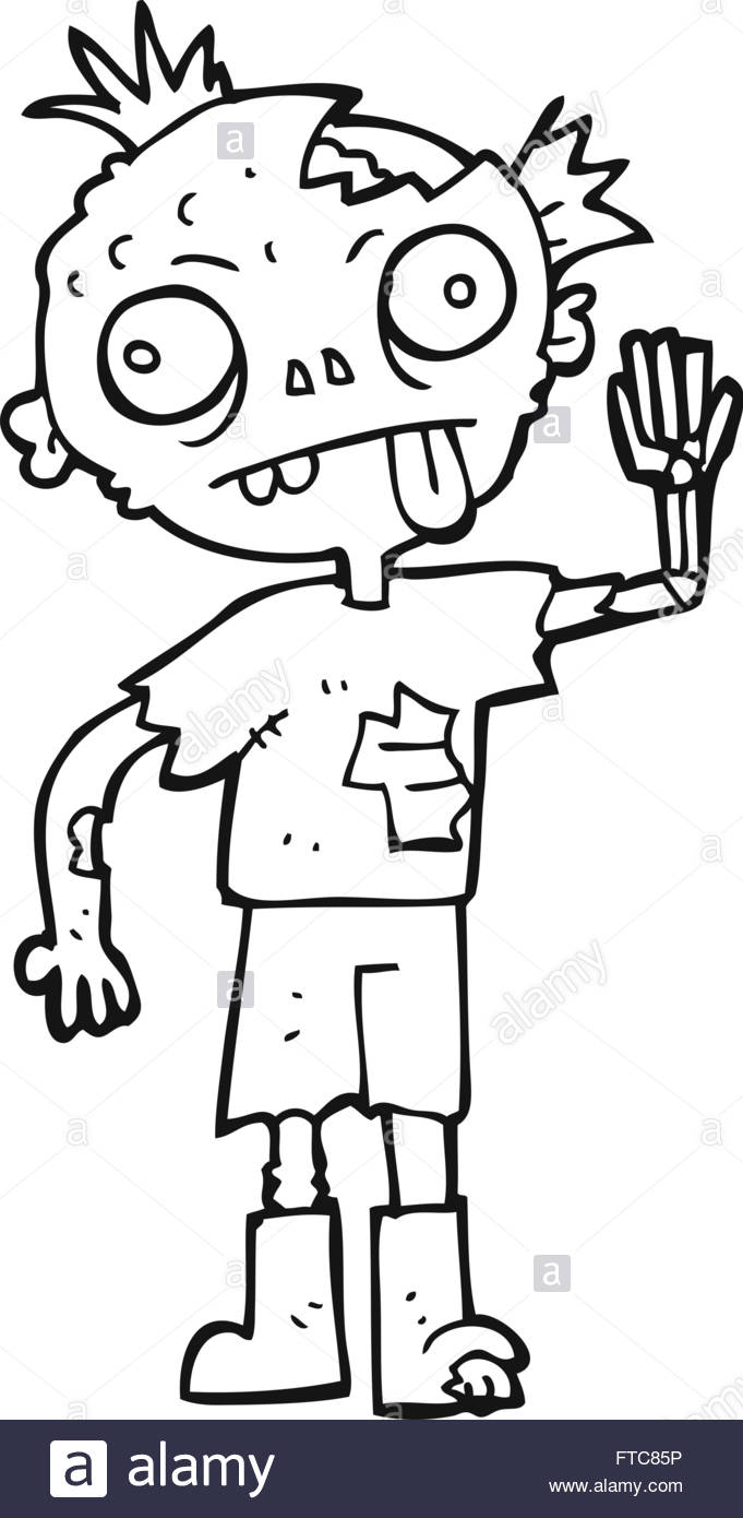 freehand drawn black and white cartoon zombie Stock Vector Art.