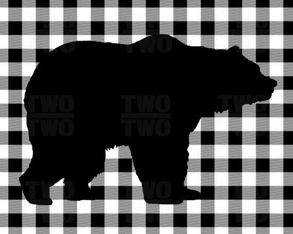 Black Bear Print on White Buffalo Plaid by TwooverTwoStudio.