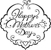 Mother S Day Clip Art Black White.