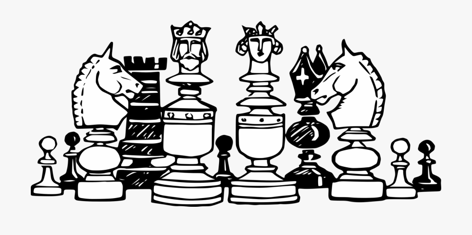 Chess clipart black and white, Chess black and white.