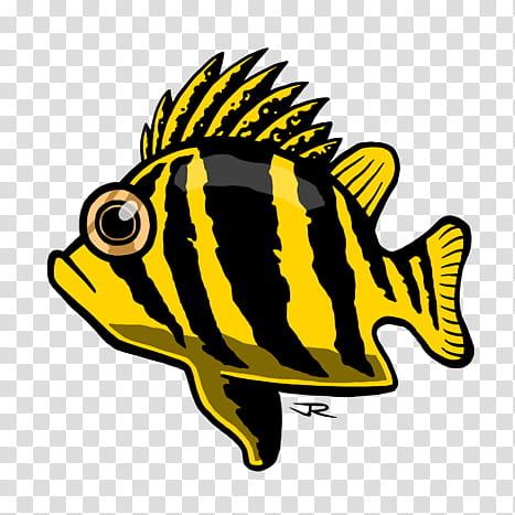 Fish, yellow and black striped fish illustration transparent.