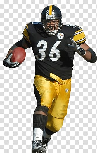 Man wearing black and yellow Pittsburgh Steelers football.