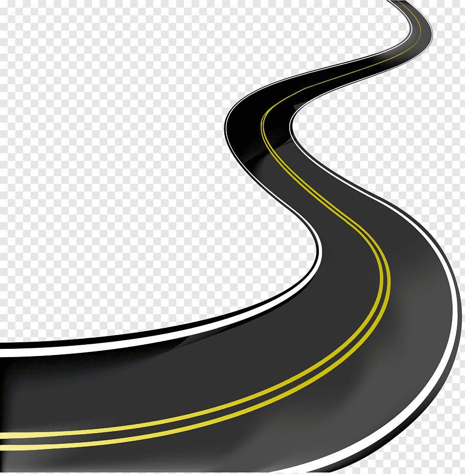 Curved road with two yellow lines, Road Highway, Curved road.