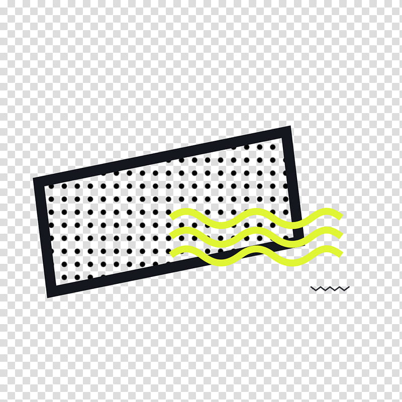 black and yellow framed dots with wavy lines artwork.